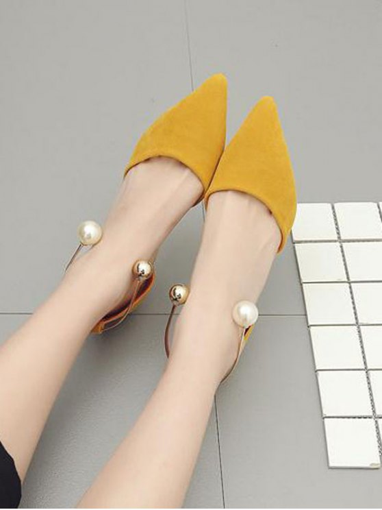 Faux Pearl Strange Style Pointed Toe Pumps - YELLOW 39 Mobile