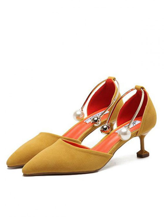 Faux Pearl Strange Style Pointed Toe Pumps - YELLOW 37 Mobile