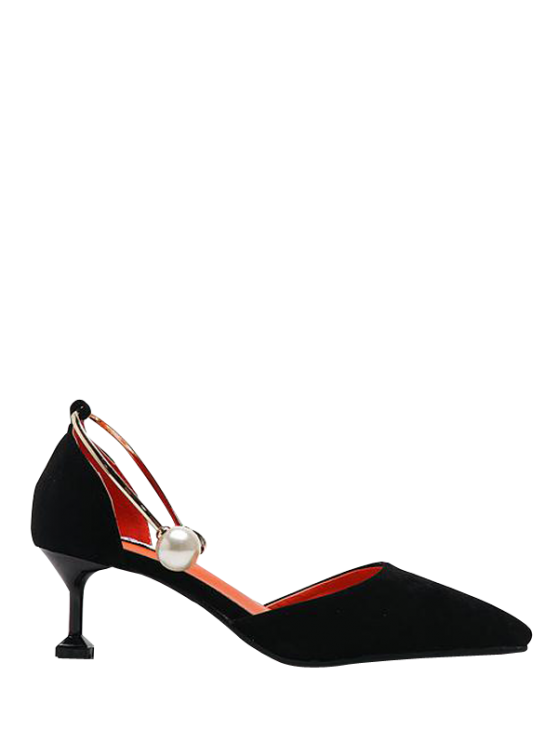 Faux Pearl Strange Style Pointed Toe Pumps - Noir 37