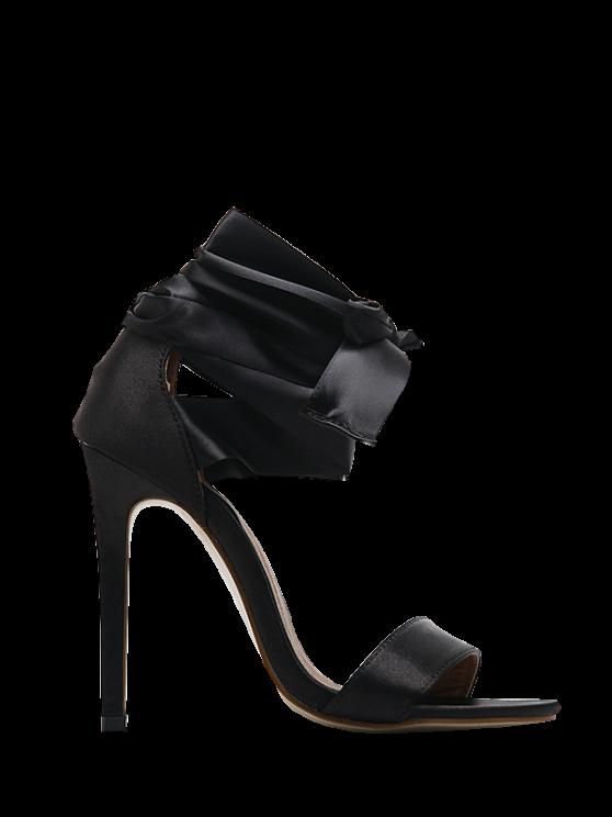 buy Satin Stiletto Heel Ribbon Sandals - BLACK 38