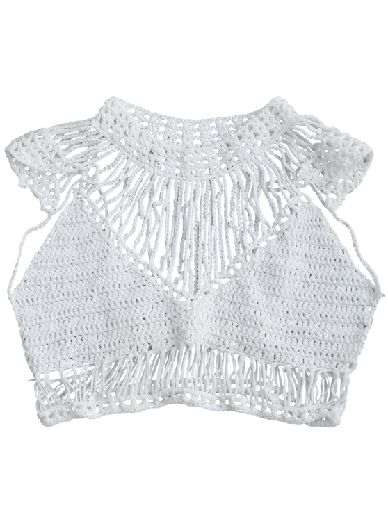 Crochet Cropped Cover Up Top - WHITE M Mobile