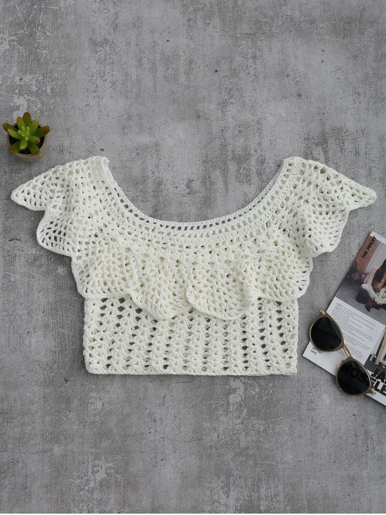 trendy Crochet Cover Up Crop Top - WHITE M