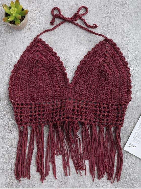 lady Tassels Crochet Bralette Swim Top - WINE RED ONE SIZE