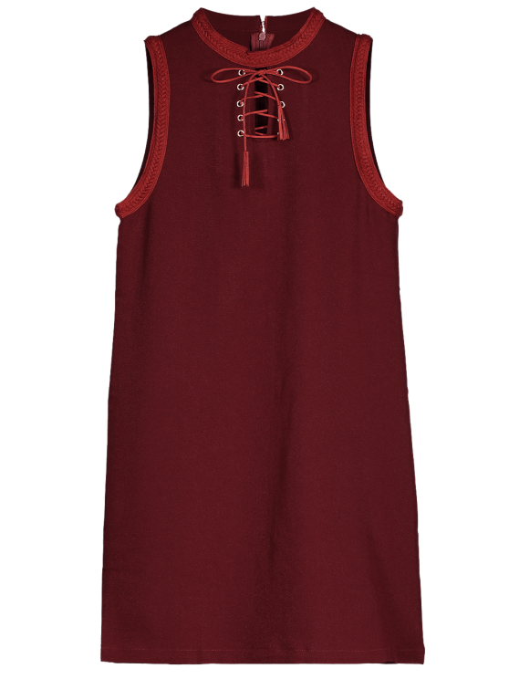 hot Lace Up Jewel Neck Sleeveless Dress - WINE RED L