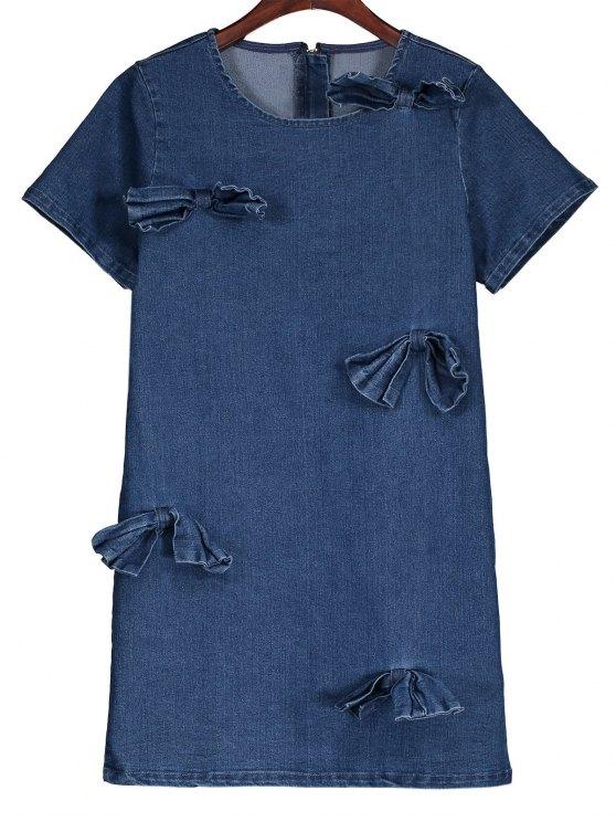 fashion Bowknot Denim Shift Dress - DENIM BLUE L