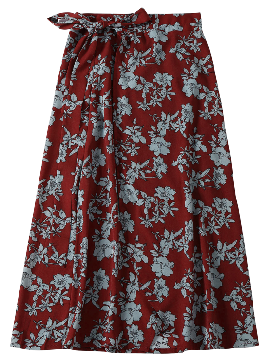 Floral High Slit Wrap Holiday Skirt - WINE RED ONE SIZE Mobile