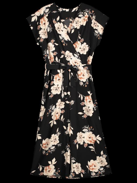 unique Floral Surplice Wide Leg Capri Jumpsuit - BLACK L