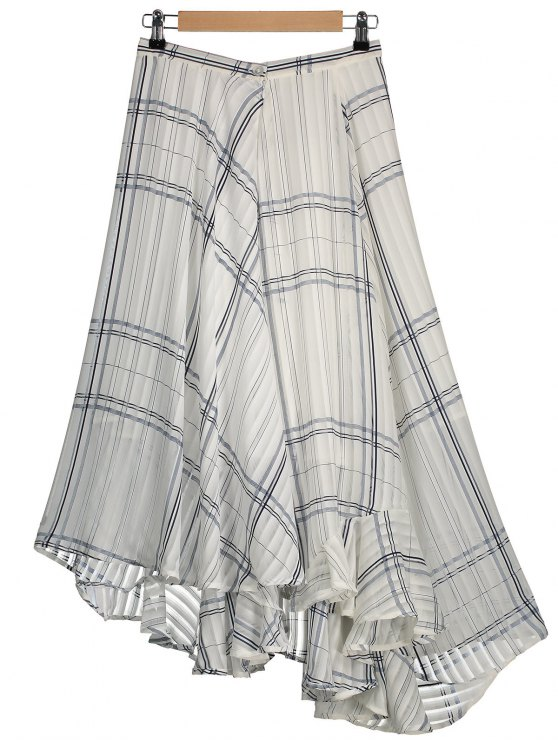 buy Geometric Line Asymmetric Layered Chiffon Skirt - WHITE L