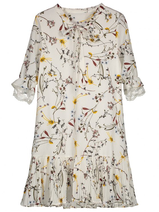 Pussy Bow Tie Floral Pleated Hem Dress - WHITE L Mobile