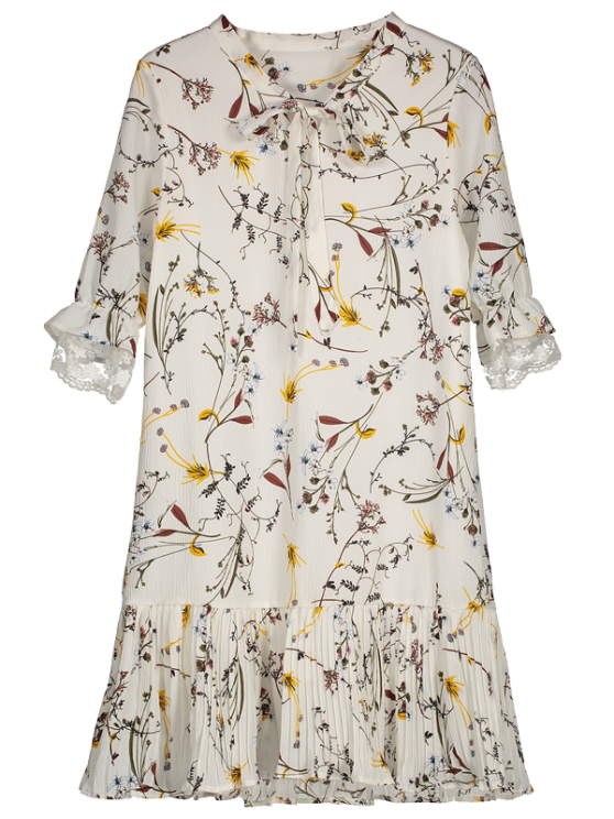 Pussy Pajarita Floral Plisado Hem Vestido - Blanco L