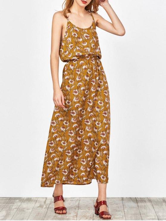 Maxi Vestido Floral de Playa - Jengibre L