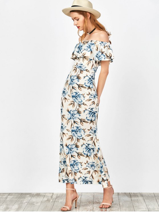 Off The Shoulder Floral Mermaid Dress - WHITE L Mobile