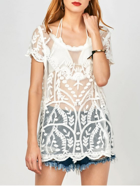 See-Through Scalloped Cover Up - WHITE ONE SIZE Mobile