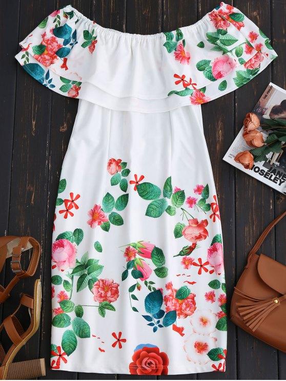Vestido de Vaina Fuera del Hombro con Volantes - Blanco L