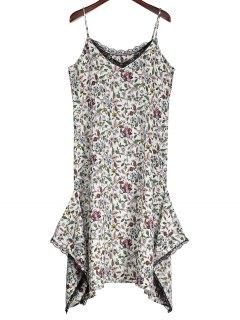 Robe Imprimée Florale Asymétrique à L'ourlet En Dentelle - Blanc L