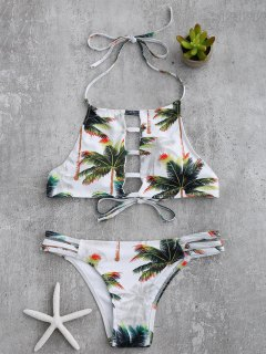 Coconut Palm Ladder Cut Banded Bikini Set - White And Green Xl