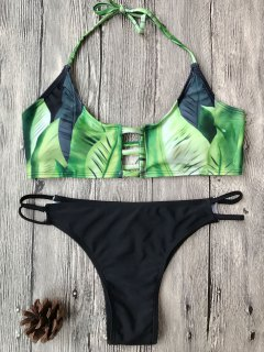 Banana Leaf Print Bralette Bikini Set - Green S