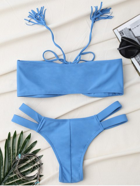 womens Bandage Lace Up Strapless Bathing Suit - ICE BLUE S Mobile