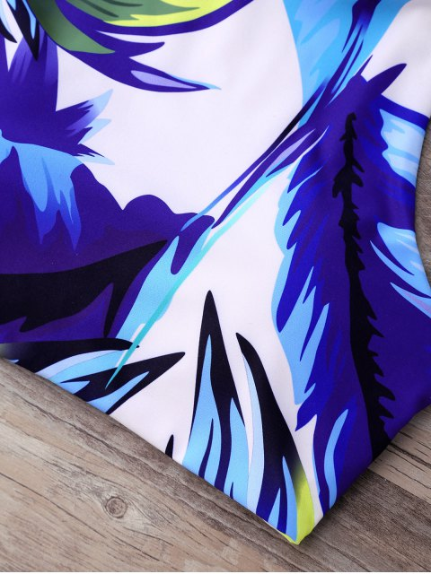 lady Palm High Neck Thong Bikini Set - BLUE S Mobile