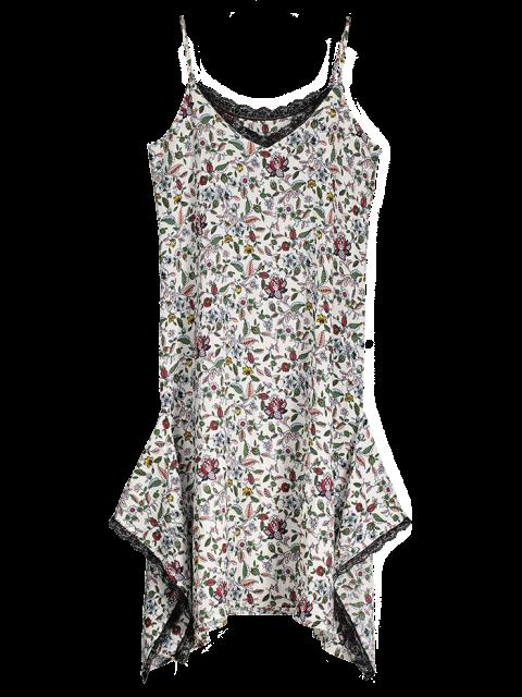womens Slip Floral Asymmetric Lace Trim Dress - WHITE S Mobile