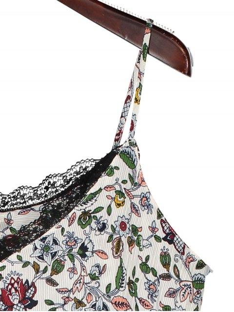 women's Slip Floral Asymmetric Lace Trim Dress - WHITE L Mobile