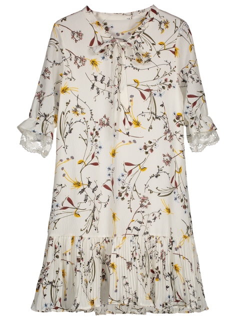 online Pussy Bow Tie Floral Pleated Hem Dress - WHITE L Mobile