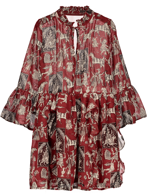 new Printed Ruffle Flare Sleeve Chiffon Dress - RED S Mobile