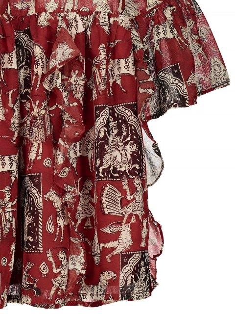 hot Printed Ruffle Flare Sleeve Chiffon Dress - RED M Mobile