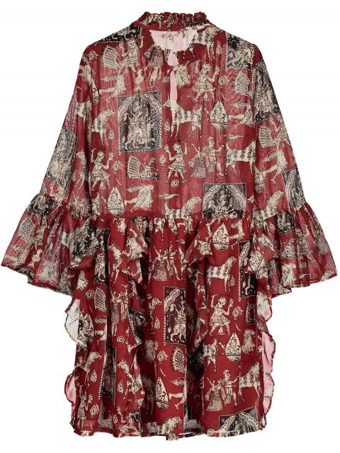 outfit Printed Ruffle Flare Sleeve Chiffon Dress - RED L Mobile