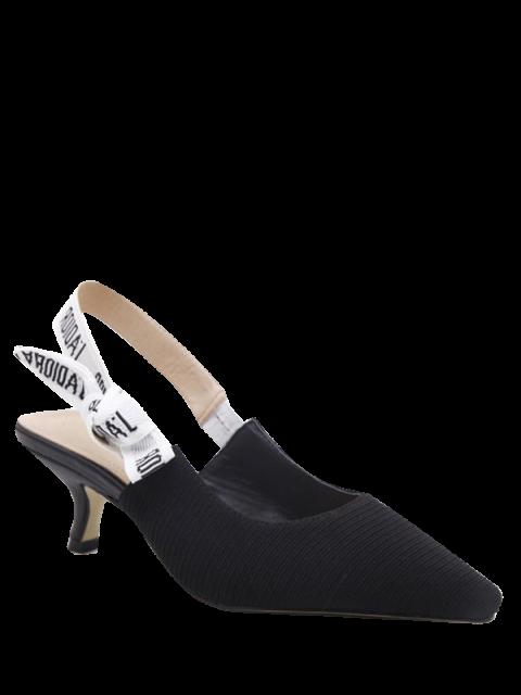 shops Letter Pattern Slingback Mid Heel Pumps - BLACK 39 Mobile