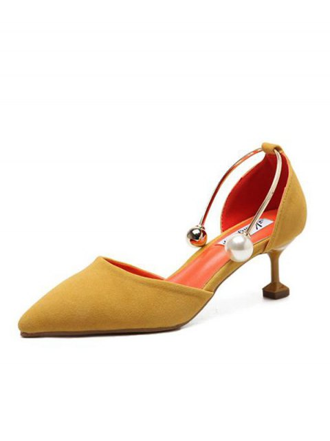 fashion Faux Pearl Strange Style Pointed Toe Pumps - YELLOW 39 Mobile