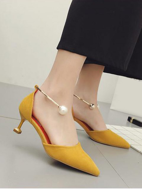 fancy Faux Pearl Strange Style Pointed Toe Pumps - YELLOW 38 Mobile