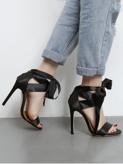 women Satin Stiletto Heel Ribbon Sandals - BLACK 37 Mobile