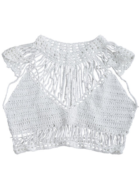 shops Crochet Cropped Cover Up Top - WHITE M Mobile