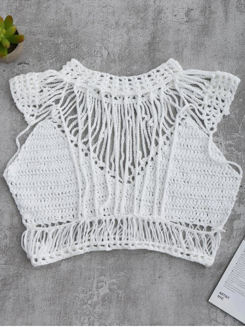 latest Crochet Cropped Cover Up Top - WHITE L Mobile