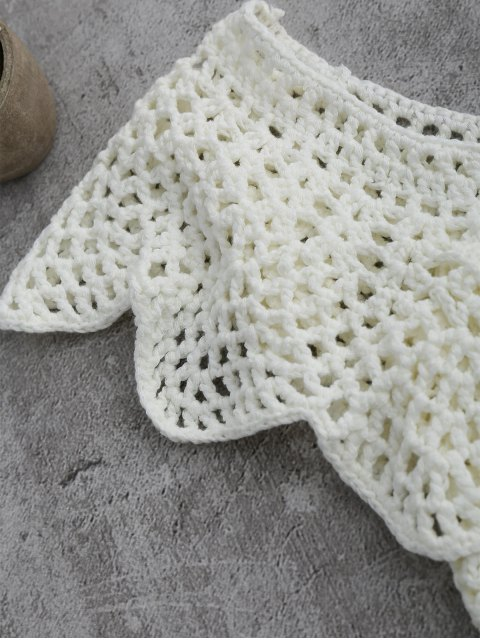 fashion Crochet Cover Up Crop Top - WHITE L Mobile