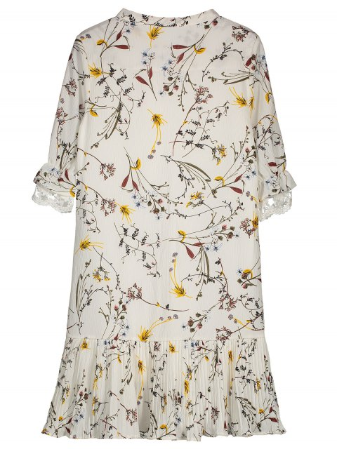 lady Pussy Bow Tie Floral Pleated Hem Dress - WHITE S Mobile