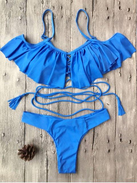 womens Flounce Off The Shoulder Bikini Set - BLUE S Mobile
