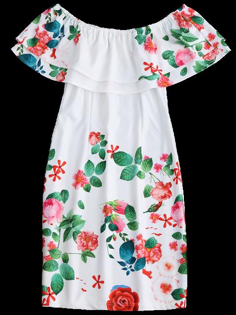 shops Ruffles Off The Shoulder Sheath Dress - WHITE 2XL Mobile