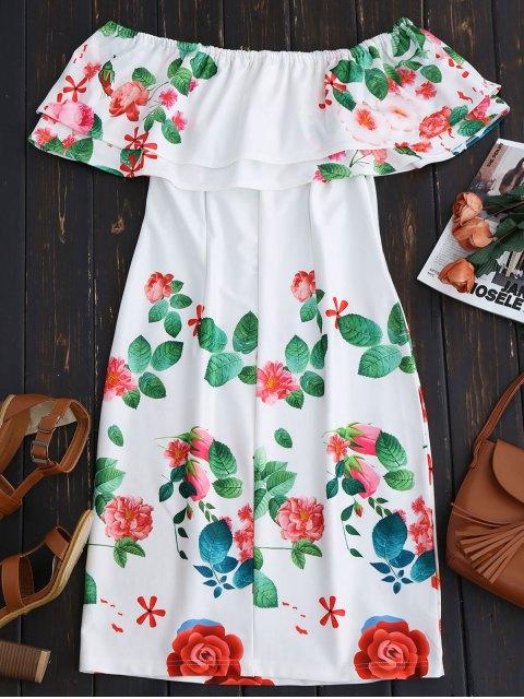trendy Ruffles Off The Shoulder Sheath Dress - WHITE L Mobile