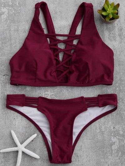 Padded Strappy Front Bikini - Wine Red