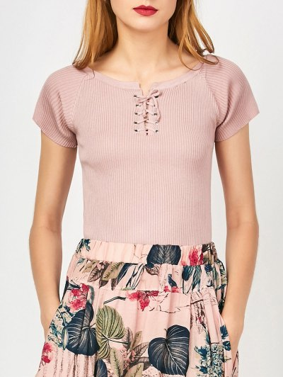 Cropped Ribbed Lace Up Top - Nude Pink