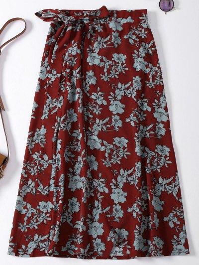 الأزهار السامية الشق التفاف عطلة تنورة - نبيذ أحمر حجم واحد