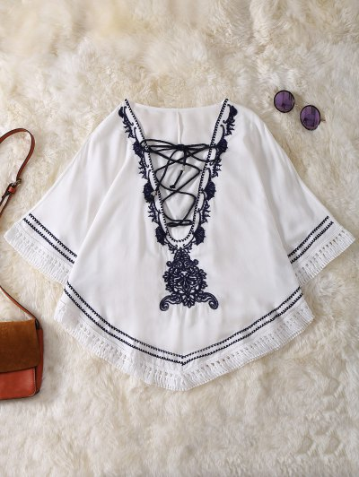 Embroidered Lace Up Batwing Sleeve Top - White