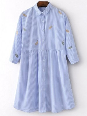 Embroidered Stripes Shirt Dress - Stripe