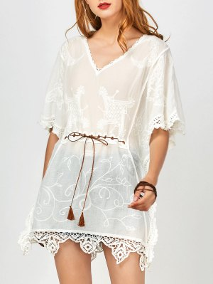 Cover Up Lace Trim Blouse - White