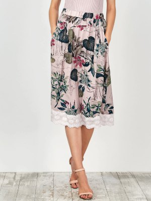 Lace Trim Floral A-Line Skirt - Nude Pink