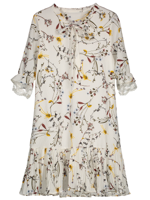 Pussy Bow Tie Floral Pleated Hem Dress - White