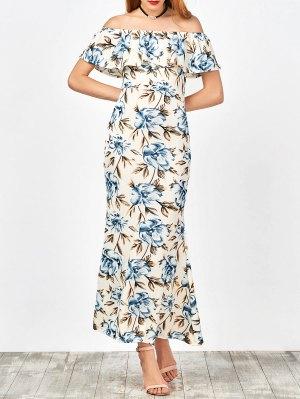 Off The Shoulder Floral Mermaid Dress - White
