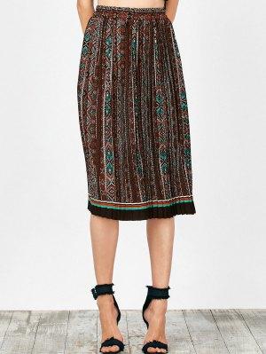 Tribal Print Pleated Skirt - Brown